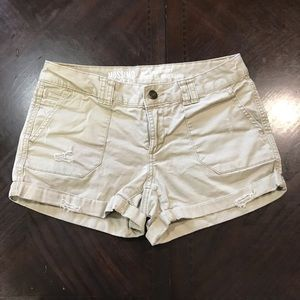 Mossimo Women Mid Rise Distressed Cargo Short